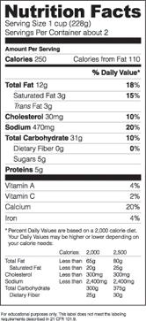 nutrition label template word - Bodum