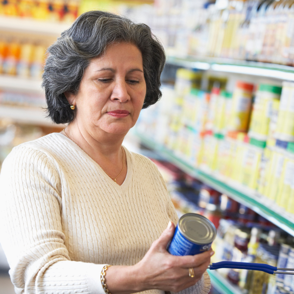 Older Adult Reviewing Nutrition Facts Label