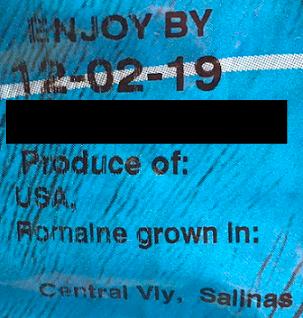 Romaine from Salinas, California Label Enjoy By December 2, 2019