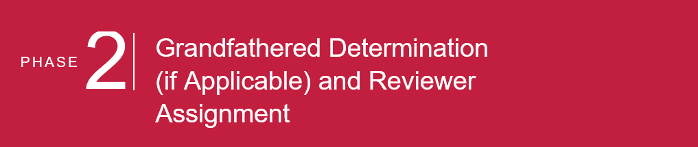 PHASE 2: Grandfathered Determination (if Applicable) and Reviewer Assignment