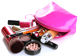 picture of makeup bag on a white background