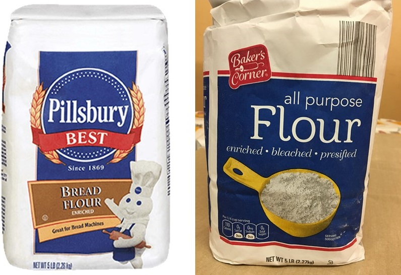 Pillsbury flour and Bakers Corner flour
