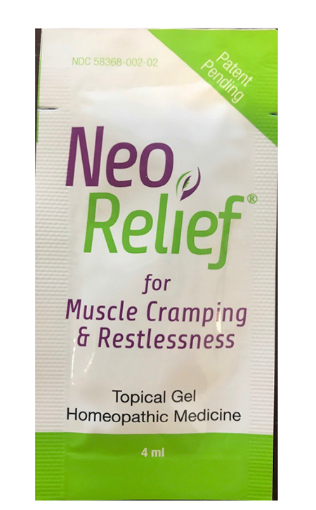 """Product image, front of NeoRelif muscle cramping & restlessness, 2017 Sample Pack"""