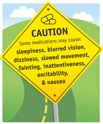 road sign that reads: CAUTION, some medications may cause sleepiness, blurred vision, dizziness, slowed movement, fainting, inattentiveness, excitability, and nausea