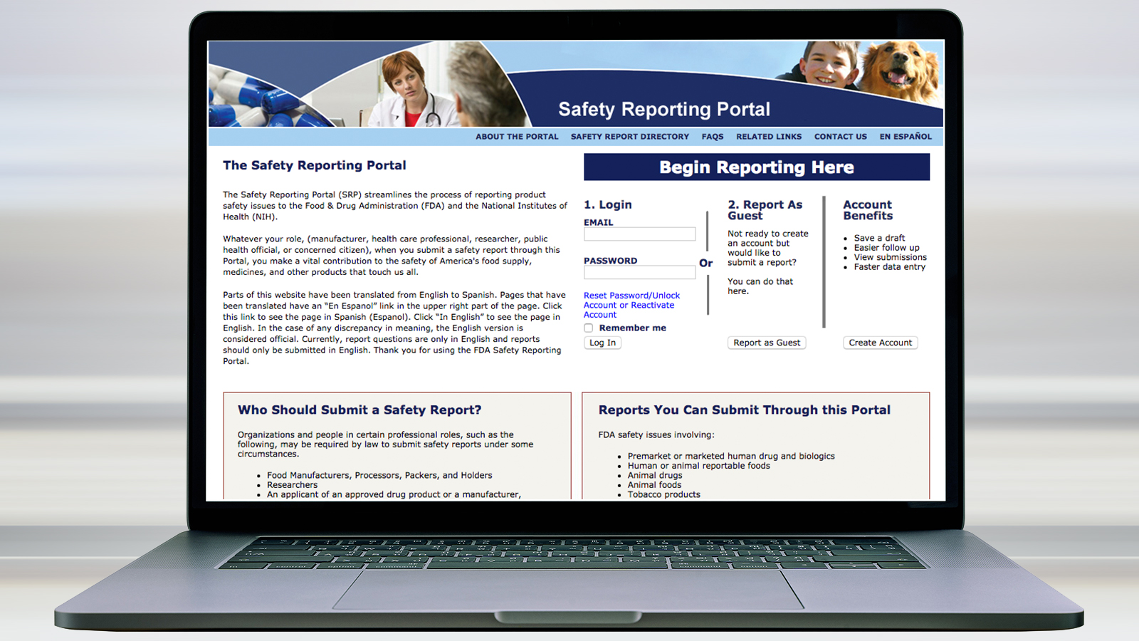 image of computer screen showing FDA safety reporting portal