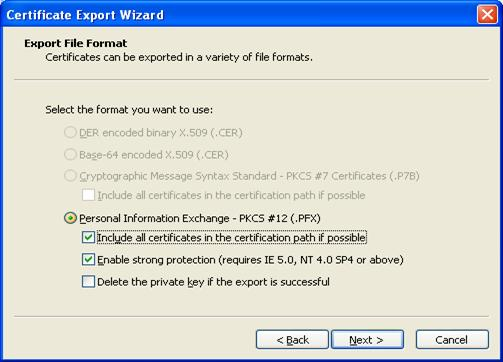 Screen Shot-Highlighting 'Personal Information Exchange' 'Include all certificates in the certification path if possible' 'Enable strong protection'