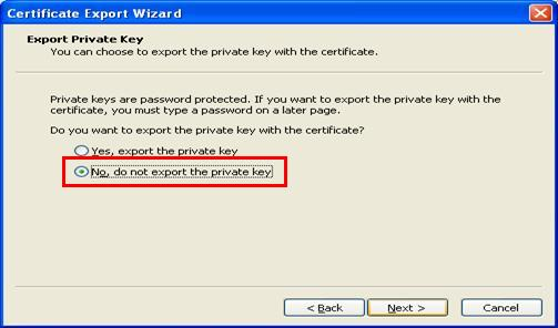 Screen Shot-Highlighting the selection 'No, do not export the private key'