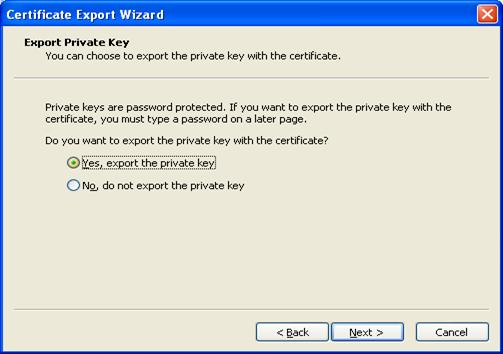 Screen Shot-Selected 'Yes, export the private key'