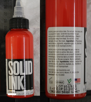 Solid Ink-Diablo (red) Tattoo Ink (manufactured by Color Art Inc.)