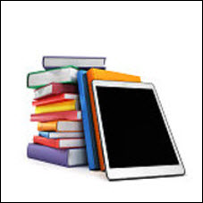 Tablet on stack of books