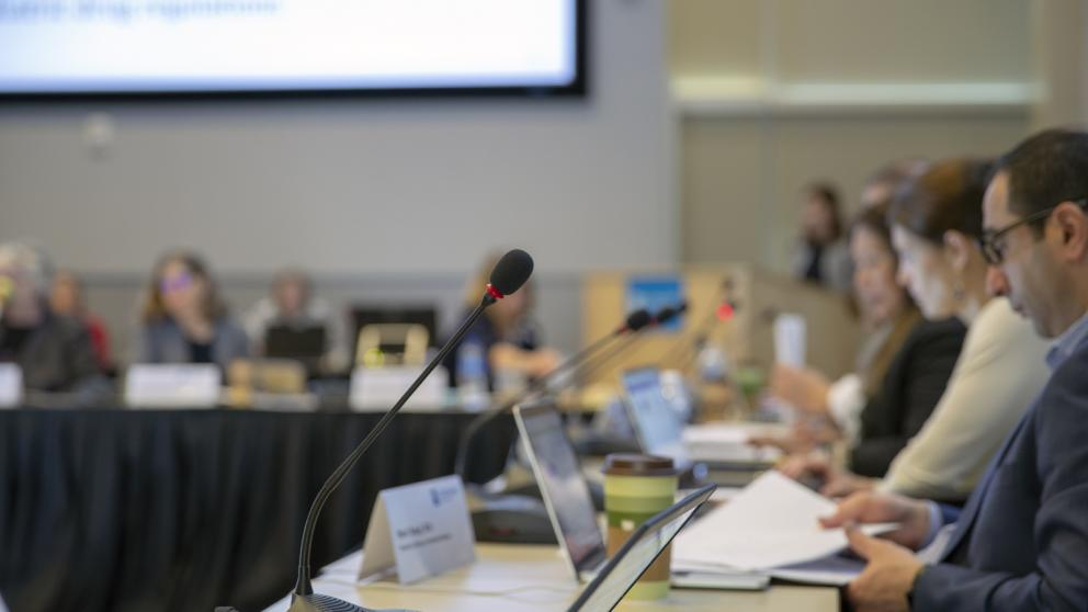 A microphone juxtaposed against blurred panel members of an advisory committee in the background