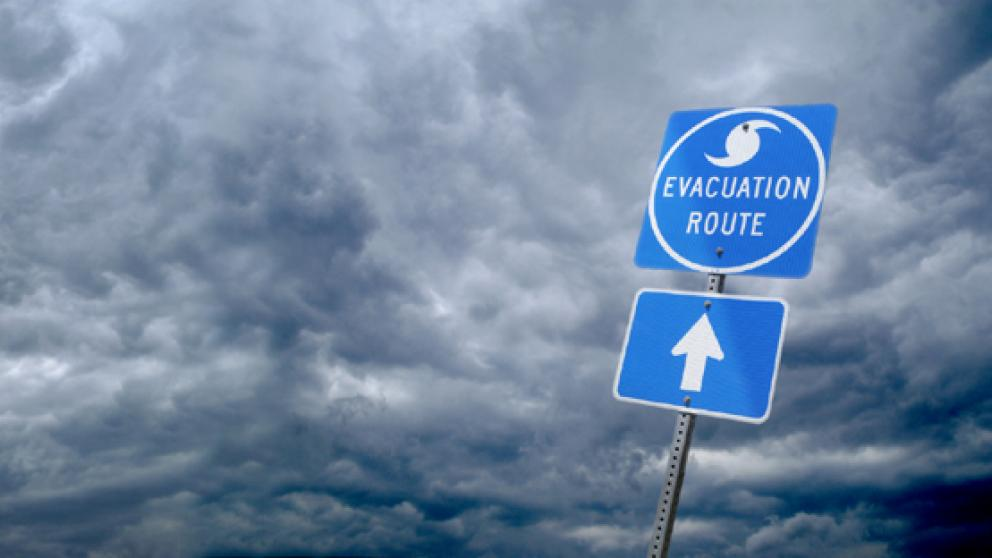 Evacuation route sign during storm