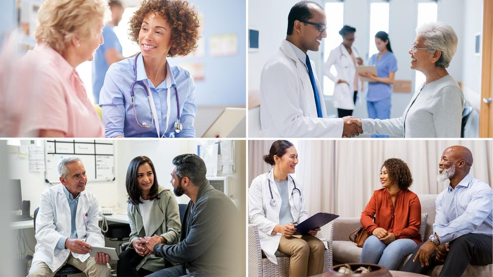 Collage of scenes of patients consulting with healthcare professionals