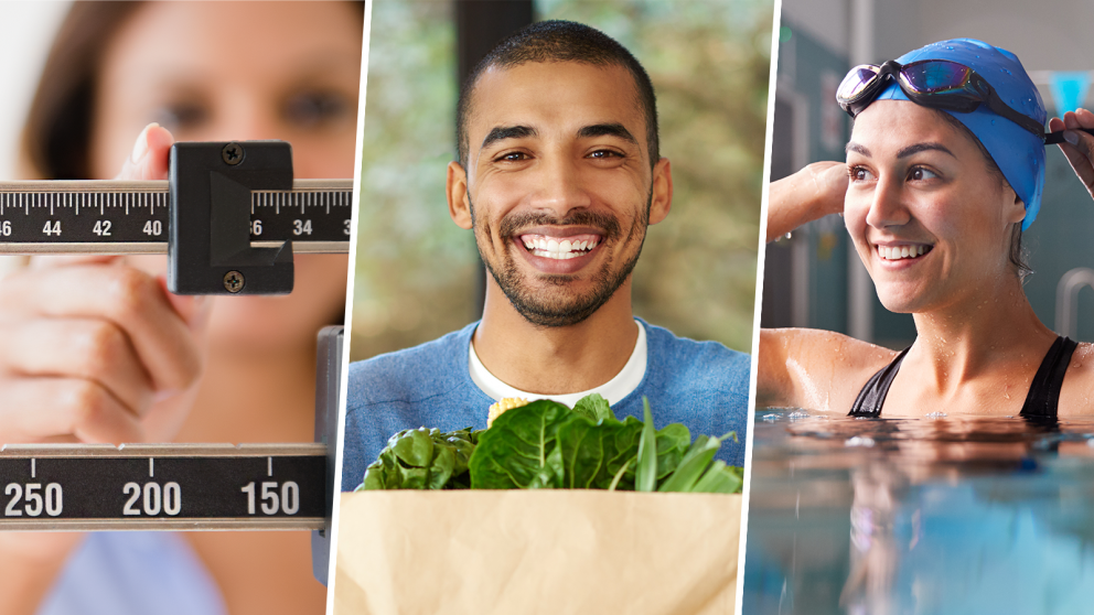 a collage of three photos emphasizing the importance of a balanced diet and exercise as a safe and effective way to lose weight, showing a closeup of a woman adjusting a medical scale, a smiling young man holding a grocery bag with leafy green vegetables showing and a smiling young woman adjusting her goggles strap preparing to swim laps in a pool