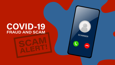 COVID-19 Fraud and Scam alert illustration, image of mobile phone with possible scam caller.