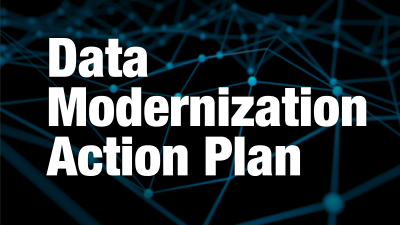The words Data Modernization Action Plan in bold white type against a dark abstract background of dots connected by lines in space.