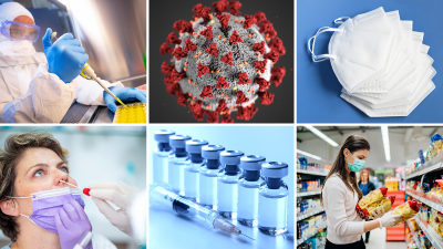 6 photos arranged in a grid: lab scientist waring full personal protection equipment using a pipet to prepare samples for testing; detailed realistic 3D computer generated illustration of the SARS-CoV-2 virus; face masks, a woman being tested for COVID-19 via nasal swab, a row of vaccine vials and a syringe, a woman waring a face mask reading the labels and holding bags of pasta in a grocery store