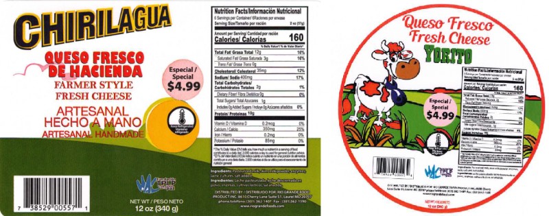Sample Product Label from the Outbreak Investigation of Listeria monocytogenes in Hispanic-style Fresh and Soft Cheeses (February 2021) - Chirilagua, Yorito