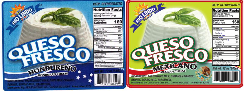 Sample Product Label from the Outbreak Investigation of Listeria monocytogenes in Hispanic-style Fresh and Soft Cheeses (February 2021) - Rio Lindo