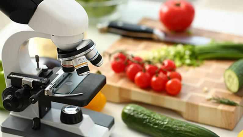 Image of microscope and food
