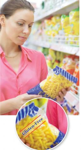Image of a woman looking at a bag of snack food with a callout of gluten-free label on the package