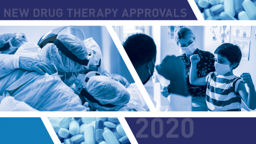 "The words ""New Drug Therapy Approvals 2020"" with photos of various pills, surgeons in full medical gowns, and a pediatrician engaging with a patient and his mother."
