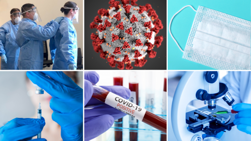 6 photos: FDA Commissioned Corps officers donning protecting gowns, gloves, masks and visors; 3D illustration of the coronavirus; cotton facemask; physician wearing medical gloves drawing vaccine or antiviral drug from vial with a syringe; closeup of blood in beaker labeled COVID-19 Positive; closeup of scientist preparing to examine sample under microscope