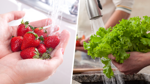 two photos, one showing hands holding fresh strawberries under running water and and the other showing hands holding fresh lettuce under running water