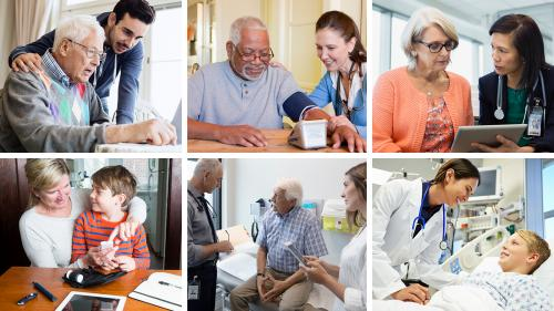 Collage of six photos of patients with caregivers at home, at the doctor's office, and in the hospital with various medical devices.