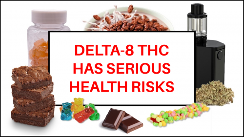 Image of Delta-8 THC uses. Brownies, gummy bears, cereal, e-cigarettes, and chocolate.