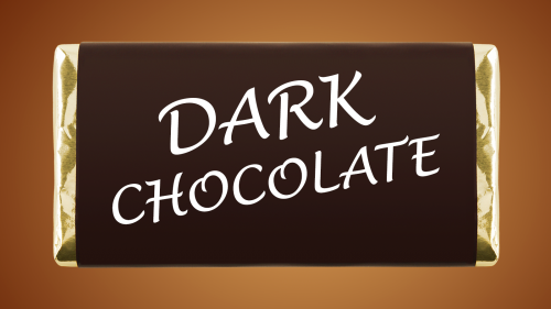 Dark chocolate candy bar with text that reads DARK CHOCOLATE on the wrapper
