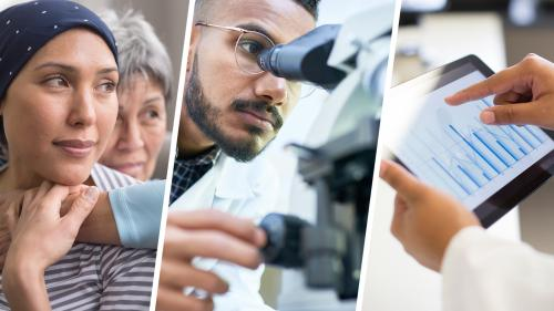 collage of three photos featuring: a hopeful young adult cancer patient embraced by supportive mother, young male scientist looking into a microscope, and a medical professional reviewing data on an iPad