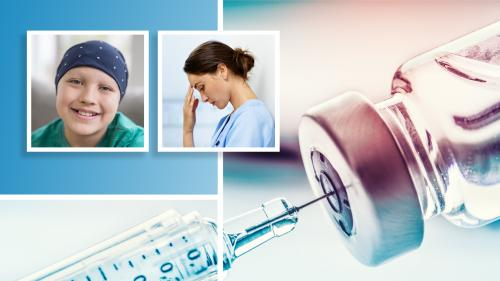 collage of three separate images including a smiling young cancer patient with a scarf around her head, a tired or concerned nurse leaning against a wall pressing her fingers to her forehead, and a closeup of a syringe drawing clear liquid from a vial