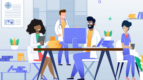 illustration of four smiling physicians using various electronic devices to communicate with patients