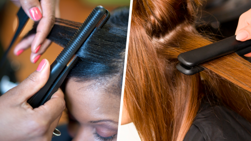 two photos of women of different hair-types, both having their hair straightened with flat irons