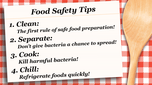 Recipe card graphic with text that reads: Food Safety Tips 1. Clean: The first rule of safe food preparation! 2. Separate: Don't give bacteria a chance to spread! 3. Cook: Kill harmful bacteria! 4. Chill: Refrigerate foods quickly!