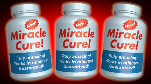 3D rendering of 3 bottles with the following words on the labels: NEW! Miracle Cure! Truly amazing! Works in minutes! Guaranteed!
