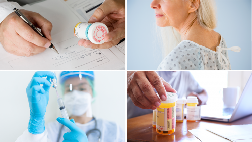 Collage of four photos showing a doctor's hands holding a prescription medicine bottle while signing a prescription, a senior female patient in a hospital gown, a medical worker drawing a drug from a vial with a syringe while wearing full PPE, and a senior male at home reading labels on multiple prescription drug bottles