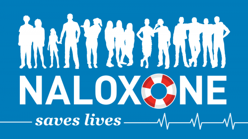images of a diverse group of people, a life preserver and the words Naloxone saves lives