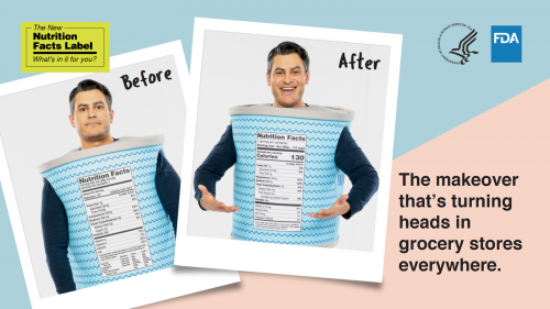 Graphic with two photos featuring the same man wearing a packaged food costume, with the old nutrition facts label and the word