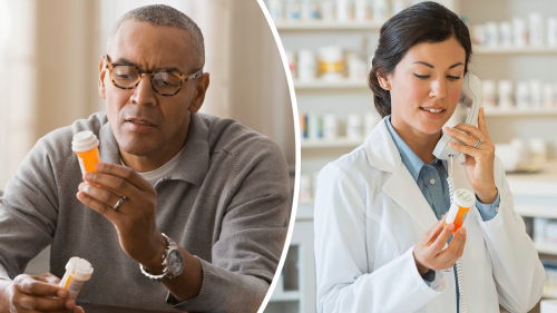 photo of man carefully reading labels on prescription medicine bottles to the left of a photo of a female pharmacist doing the same thing while talking on the telephone