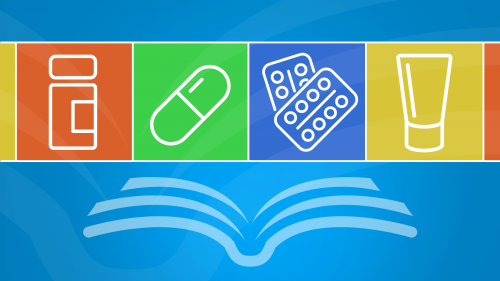 a stylized illustration of an open book above with appear icons of over-the-counter (OTC) medicine products, including a pill bottle, a capsule, two blister packs of tablets, and a tube of cream