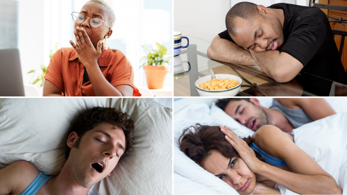 four photos showing a woman yawning while trying to work at her computer, a man sleeping at the breakfast table, a man snoring in bed with his mouth wide open, & an angry woman wide awake in bed holding her hands over her ears while her male partner snores next to her