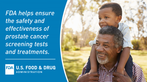 African American male with grandchild on shoulders, the FDA logo, & text that reads: FDA helps ensure the safety