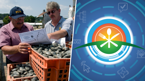 collage including: photo of harvested shellfish in crates and FDA and state food safety inspectors looking at a shell fish harvesting map; and a graphic with food industry icons encircling illustrations of a knife, fork and spoon