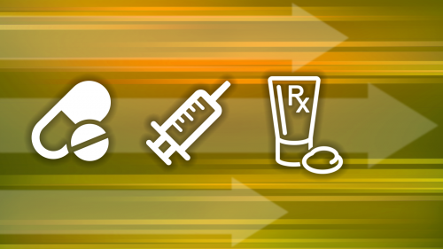 Icons of a pill, capsule, syringe and tube of prescription topical cream against an abstract background including three large semi-transparent arrows pointing to the right representing rapid progress.