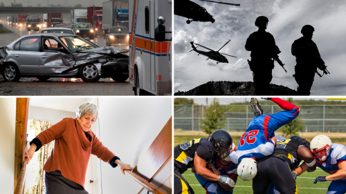 Collage of four photos showing the aftermath of a serious car accident, armed soldiers in the field wearing full combat gear and helicopters flying in the background, football players colliding violently, an older women bracing herself nervously at the top of the stairs