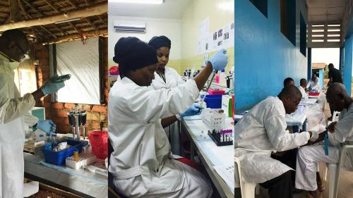 Researchers process biological samples collected from Ebola survivors in DRC (left two images), and a lab technician collects a blood sample from an Ebola survivor. (Images: UCLA)