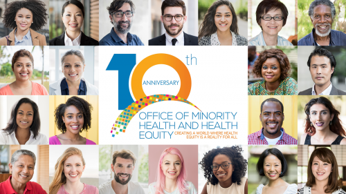 Collage of 22 portraits of diverse people with the FDA's Office of Minority Health and Health Equity 10th Anniversary logo