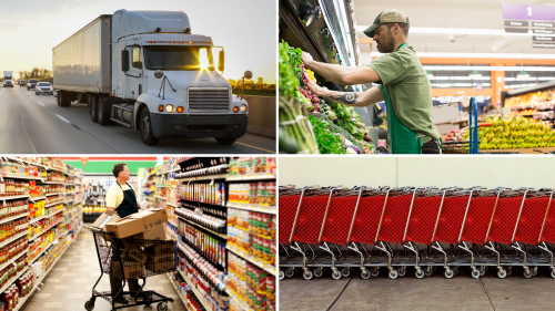 Photo collage including truck on highway, grocery store employees stocking shelves with packaged food and fresh produce, and a row of shopping carts awaiting hungry consumers.